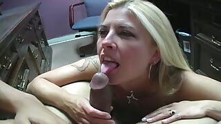 Pretty blonde Joclyn Stone can`t stop sucking this weiner